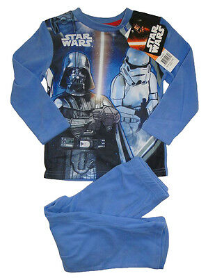 Jungen Star Wars Schlafanzug fleece langarm Kinder Pyjama warm Darth Vader Yoda