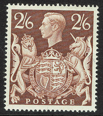 GB KGVI SG476 - 2s6d BROWN - 1939 ARMS HIGH VALUE - VERY FINE MINT MH - Sc #249