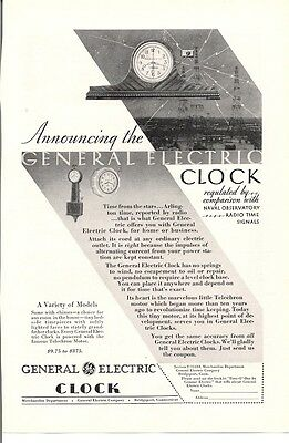 Announcing General Electric Clock Variety of Models Vintage Ad