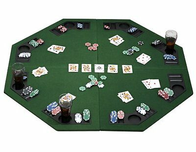 Large Poker Black Jack Table Card Casino Games Chip Drink Holders 8 Players Fun