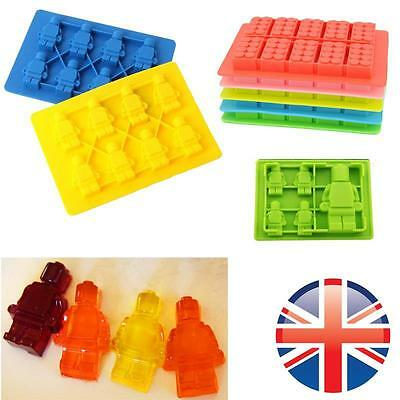 *UK Seller* Silicone Building Brick Man Ice Cube Tray Chocolate Mould Block