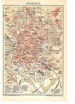 Antique map. SPAIN. CITY PLAN OF MADRID. Circa 1902