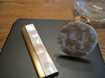 Vintage  Beautiful 2 piece set: Opal lipstick holder with Mirror and Comb