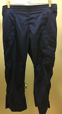 Dickies stretch 2204A Mid-Rise Moderate Flare Leg Pants blue scrubs Large