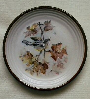 Purbeck Pottery Pin Dish/Butter Dish with Grey Wagtail design 10.75cm diameter.