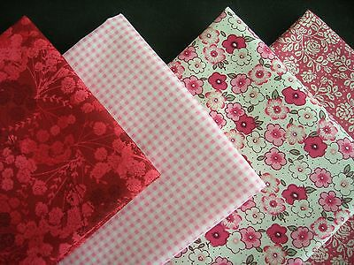 Pink & Red X 4 Fat Quarter Fabric Bundle 100 % Cotton Fabric Craft/quilting