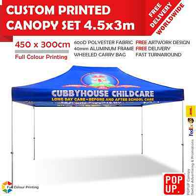 4.5x3 m Custom Printed Canopy Advertising Tent 40mm Frame Wheeled Carry Bag