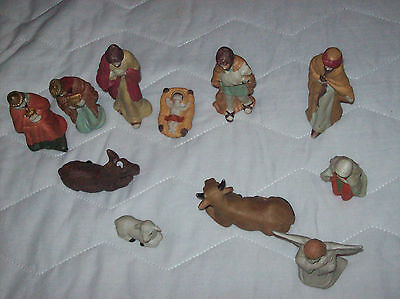 Large 11 Piece Contemporary  Christmas Nativity Figurine Display Set Used ,Boxed