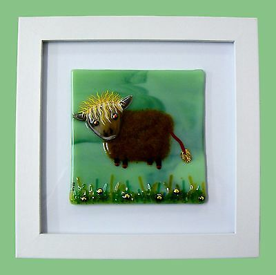Handmade Fused Glass Highland Cow Picture. Gallery Price: £45, From Me: £26.