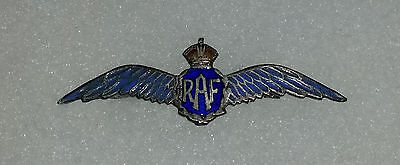 WWII Royal Air Force Sweetheart enamel and silver wings pin brooch