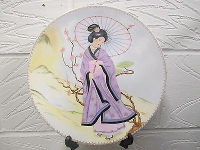 """Japanese porcelain plate hand painted approx 11"""" perfect  lady with parasol"""