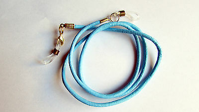 Light Blue Leather Eye / sun Glasses Cord Holder / Lanyard