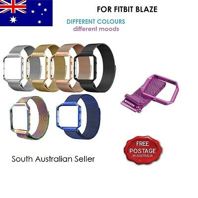 Magnetic Milanese Stainless Steel Strap Band & Frame for FITBIT BLAZE SA SELLER