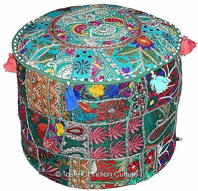 """Green 18"""" Handmade Round Ottoman~Pouf~Stool~Chair Tapestry Moroccan Pouf India"""