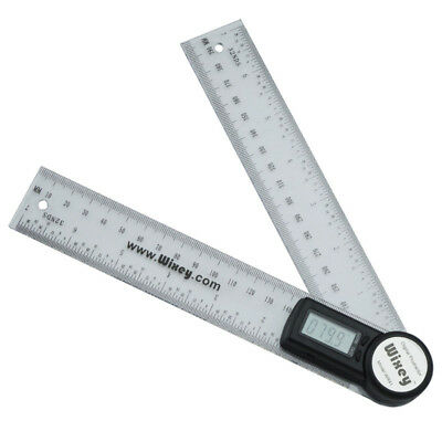 """Wixey Digital Angle Rule Protractor 200mm/ 8"""" Gauge with Clear Plastic Rule WR41"""
