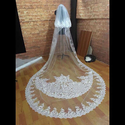 White/Ivory Long Cathedral Length 2 T Lace Bridal Wedding Veil With Comb 3 M