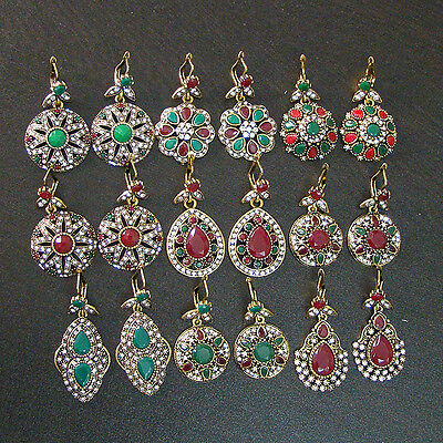Strong 9 Pcs Emerald & Ruby Victorian Solid Brass Wholesale Earrings Lot  S1231