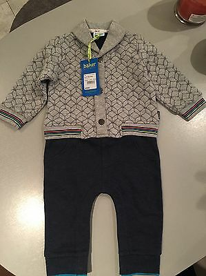 Brand New Ted Baker Baby Boys Grey & Blue Suit, 6-9 Months, Great Condition!