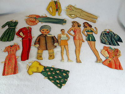 Vintage lot of 1950's paper doll items