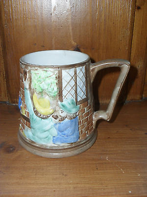 H J Wood 1950s handpainted tankard, vintage pint pot decorative English Pottery