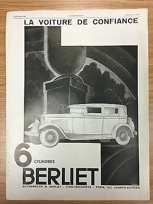 Large French BERLIET 1929 Vintage Car Advert