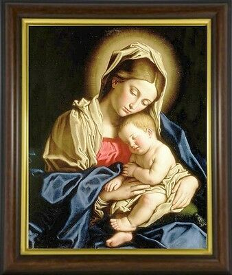 Madonna And Child Mary Our Lady Framed Picture Print Statues Candles Listed M10