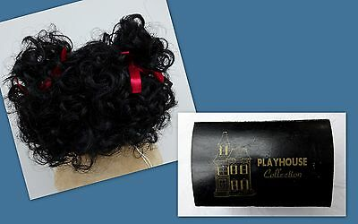 "Playhouse Dolls Wig Black Curly Antique Vintage Doll Size 14"" 15"" Boxed Hair"