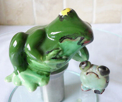 2 Pottery Green Frog Ornaments