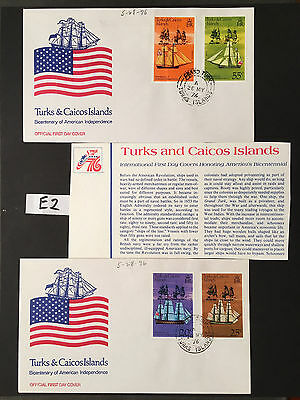1976 Us Bicentennial 2 Official First Day Covers Turks & Caicos Islands Cachet