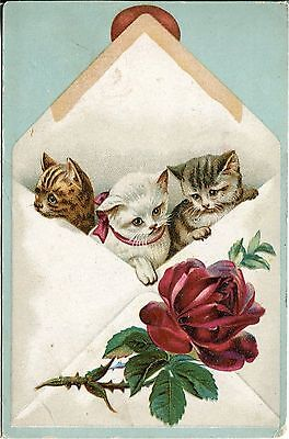 Victorian Trade Card by Lion Coffee with Three Kittens in Envelope