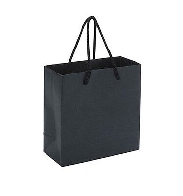 Medium Party Gift Luxury Black Paper Bags With Handles Card Wedding Shopping