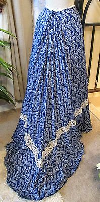 Rich Antique Edwardian Cobalt Blue White Blossom Print Silk & Lace Trained Skirt