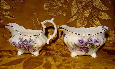 Hammersley *victorian Violets* Creamer & Sugar Bowl Made In England