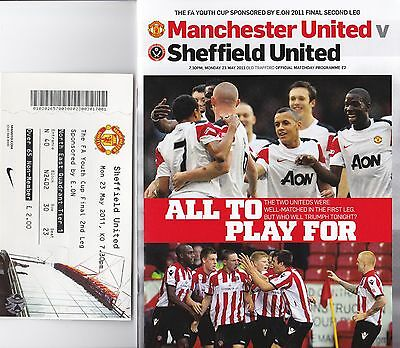 FA Youth Cup Final 2011 Manchester United Sheffield United  plus ticket stub