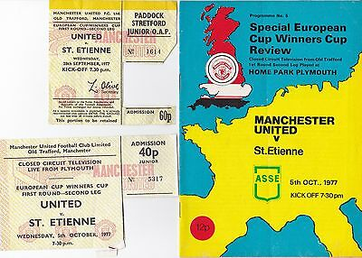 Cup Winners Cup Manchester United St Etienne plus ticket stubs details below