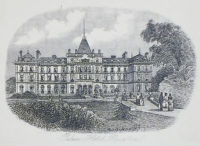 OLD ANTIQUE PRINT BUXTON PALACE HOTEL DERBYSHIRE c1870's ENGRAVING by NEWMAN