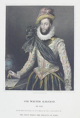 OLD ANTIQUE PRINT SIR WALTER RALEIGH EXPLORER PORTRAIT c1850's  ENGRAVING