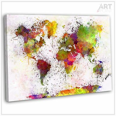 Map Of The World Abstract Watercolour Canvas Print Framed Wall Art Picture