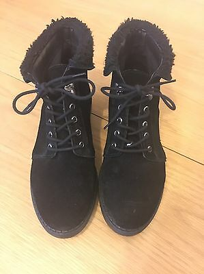 Womens Black Lace Up Boots Topshop Size 5