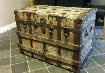 Antique Wooden Storage Chest Trunk . Iron & and wood. Travellers Chest / Trunk