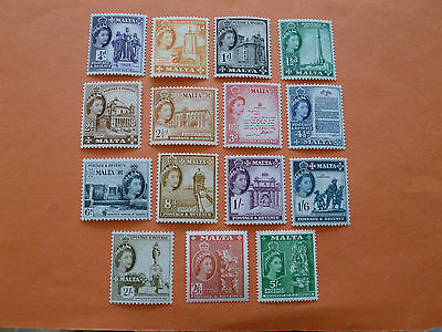 Malta 1956-58  SG266/80 (short set of 15 to 5/-)  Lightly Mounted Mint