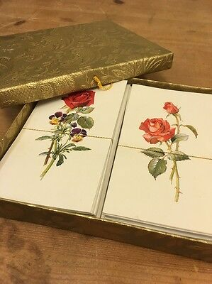 Vintage Stationary Letter Writing Set Cards Paper Envelopes Gift Box Roses Gold
