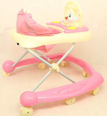 NEW Pink Activity Walker Adjustable Musical Baby Activity Toy Lights & Sounds