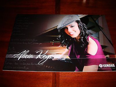 "Alicia Keys Yamaha Artist Dealer Poster 24"" X 36"" On 1/4"" Foam Board Nice ! Rare"