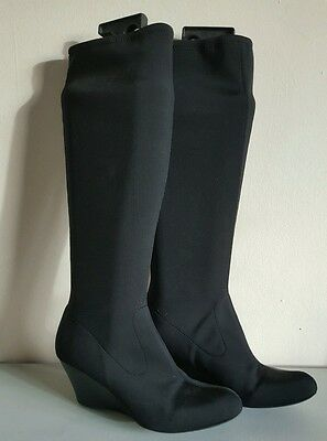Marks and spencer Ladies size 5  black medium high wedge stretchy boots