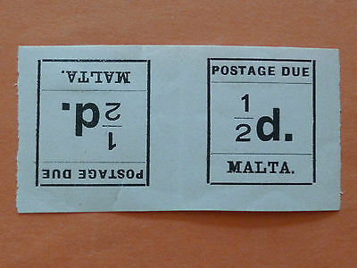 Malta 1925 Postage Due  SGD1a 1/2d Tete-beche horizontal pair  Mounted Mint