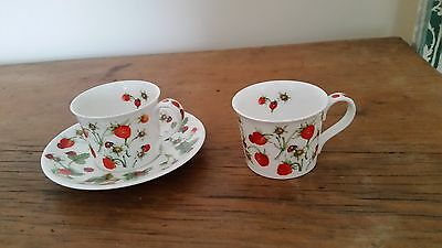 DUNOON FINE BONE CHINA 2 CUPs N 1 SAUCER DOVEDALE BY JANE FERN