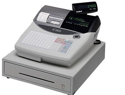Casio Te-2400 Electronic Cash Register With Brand New Wet Cover