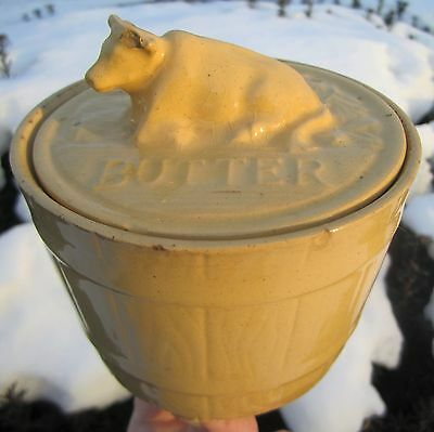 Antique Old Vintage Yelloware Resting Cow Lid Butter Crock Tub Jar Pail Germany