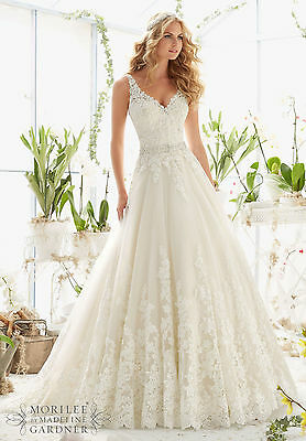 Brand New Mori Lee Appliqued Tulle Ballgown Style 2821 free shipping